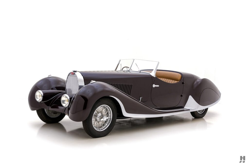 angled frontside view of classic bugatti for sale at hyman consignment dealers