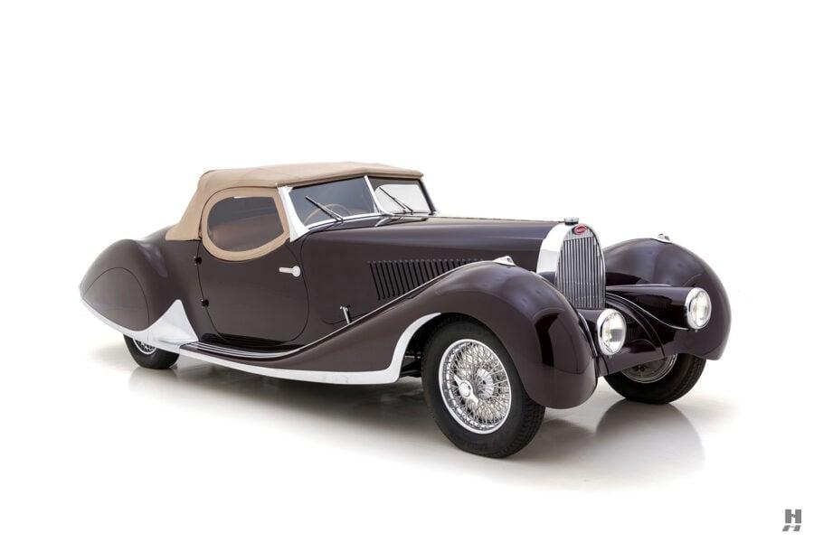 angled frontside of vintage bugatti for sale at hyman car dealership