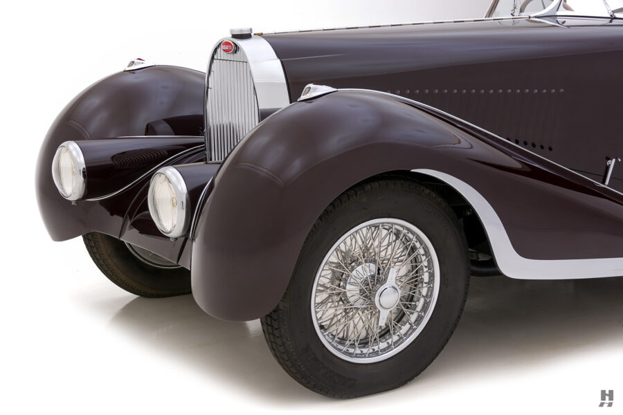 frontside view of vintage 1937 bugatti model for sale at hyman car dealers