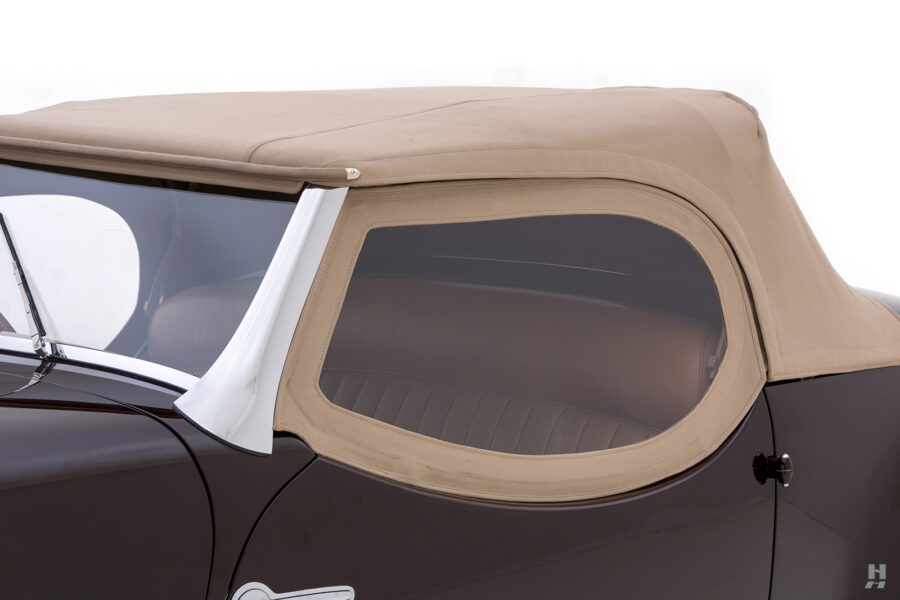close up of vintage bugatti convertible top on model type57c for sale at hyman