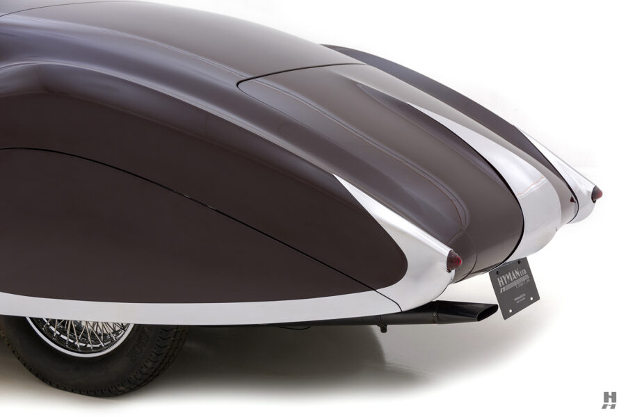 angled backside view of vintage 1937 bugatti for sale at hyman consignment car dealers