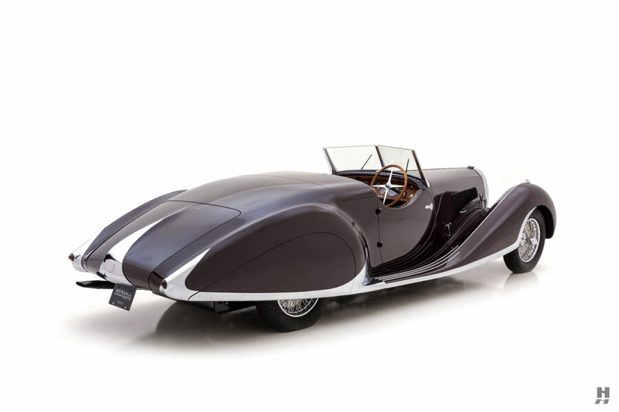 angled back view of classic bugatti car for sale at hyman dealers