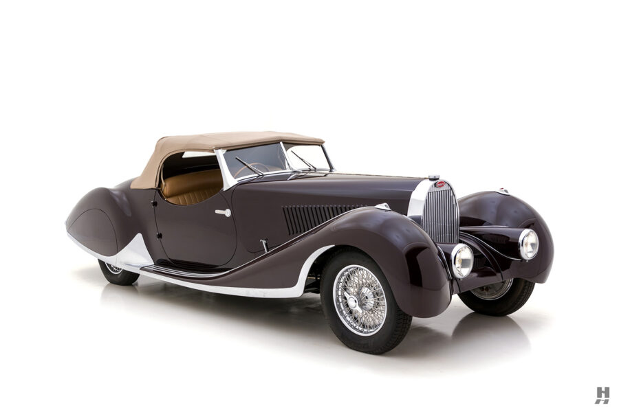 angled frontside view of vintage bugatti for sale at hyman car dealers online