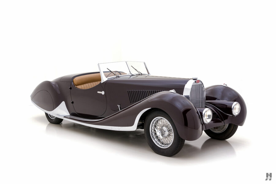 angled front view of vintage bugatti for sale at hyman dealers online
