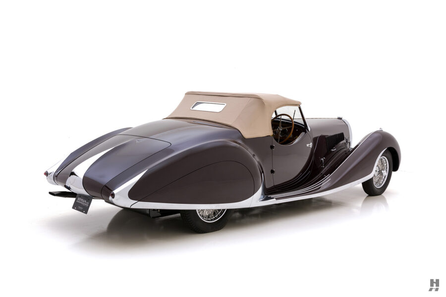 angled back view of vintage bugatti for sale at hyman car dealers online