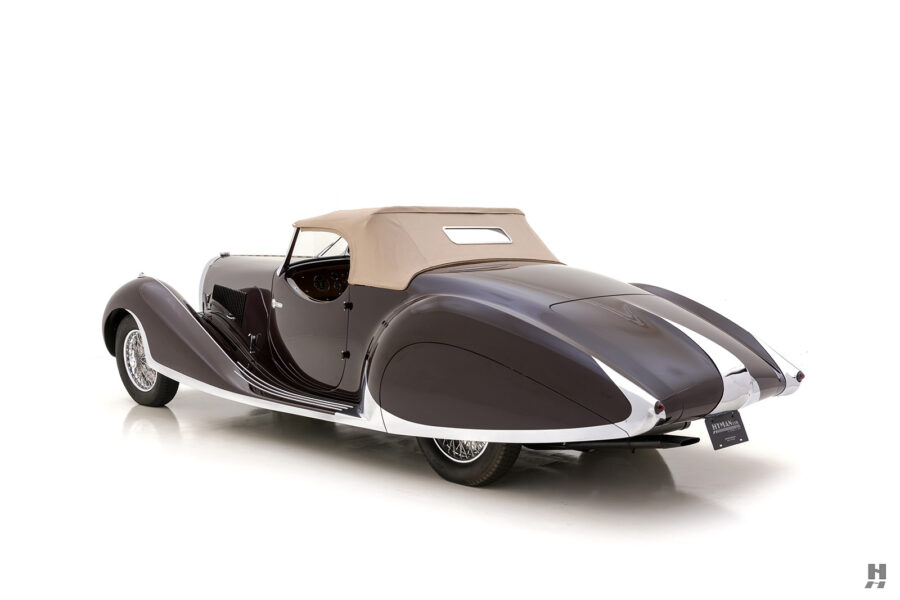 angled backside view of vintage bugatti for sale at hyman dealers