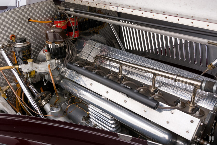 engine on vintage bugatti model for sale at hyman car dealership