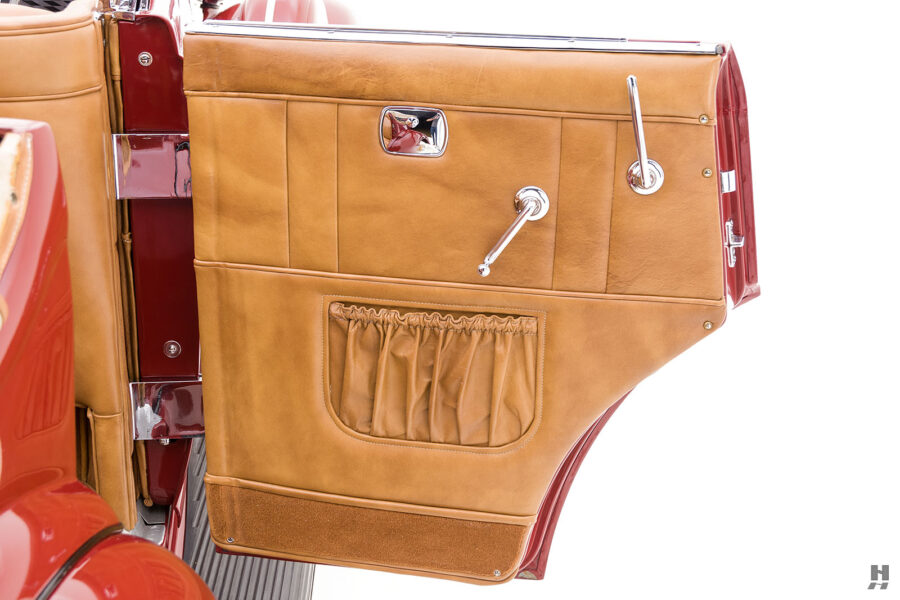 passenger's side door of old 1935 auburn convertible sedan for sale at hyman classic cars