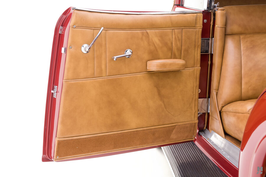 driver's side door of old 1935 auburn convertible sedan for sale at hyman classic cars