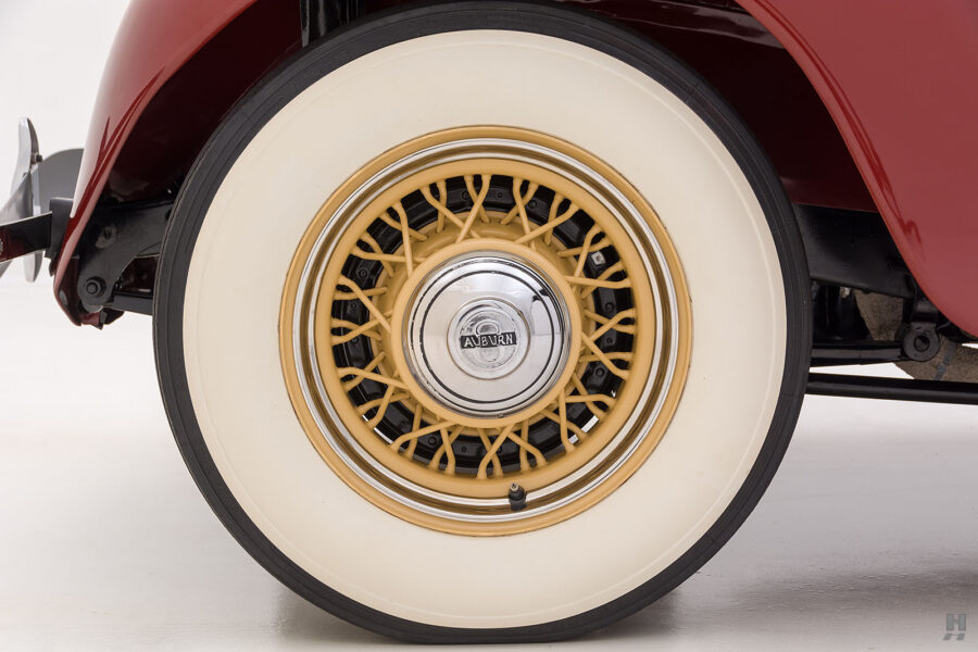 back tire on old 1935 auburn convertible sedan for sale at hyman classic cars