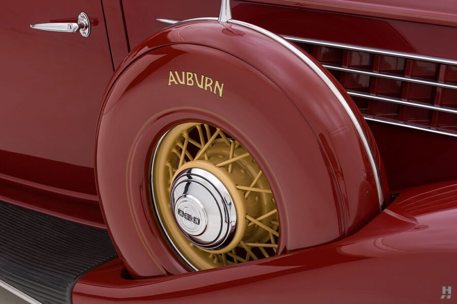 spare tire on old 1935 auburn convertible sedan for sale at hyman classic cars