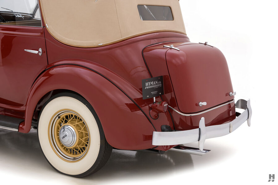 angled backside of old 1935 auburn convertible sedan for sale at hyman classic cars