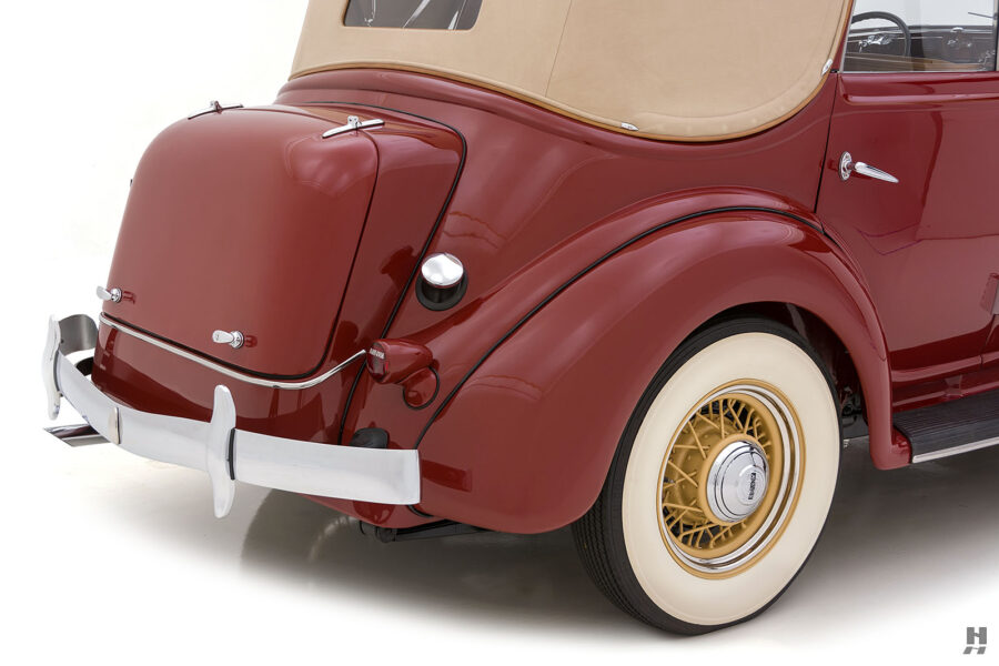 angled backside on old 1935 auburn convertible sedan for sale at hyman classic cars