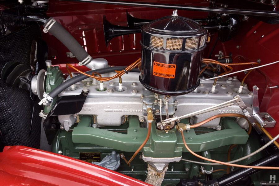 engine on old 1935 auburn convertible sedan for sale at hyman classic cars