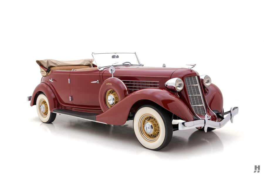 angled frontside of rare 1935 auburn convertible sedan for sale at hyman classic cars