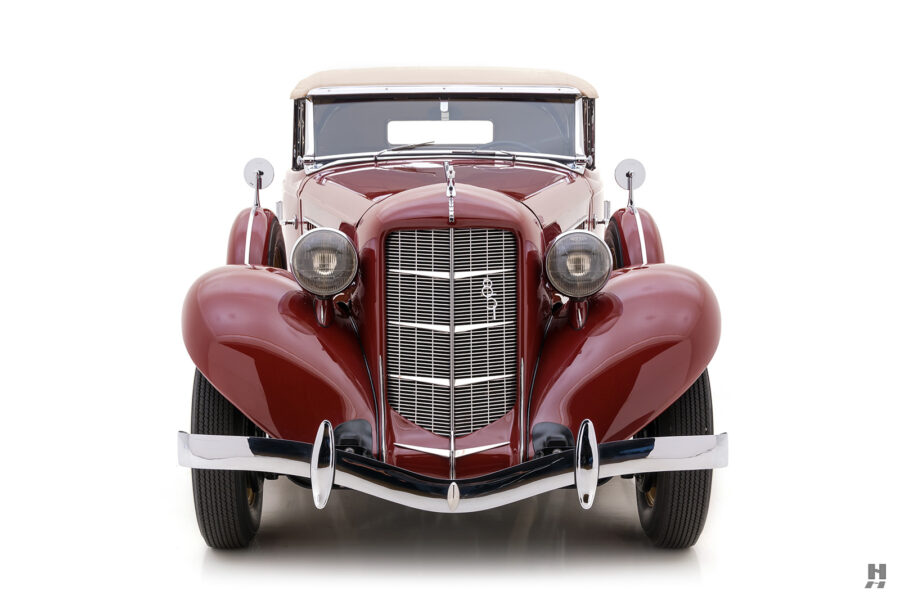 frontside of rare 1935 auburn convertible sedan for sale at hyman classic cars