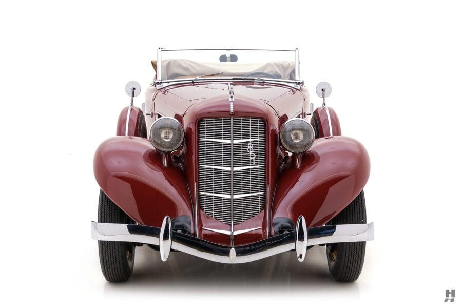 front of rare 1935 auburn convertible sedan for sale at hyman classic cars