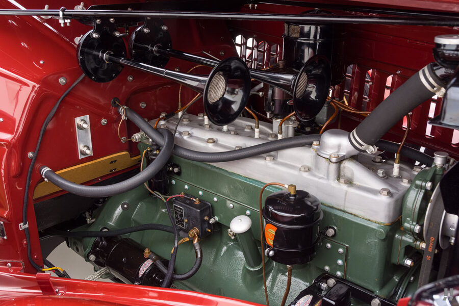 engine on old 1935 auburn convertible sedan for sale at hyman car dealership