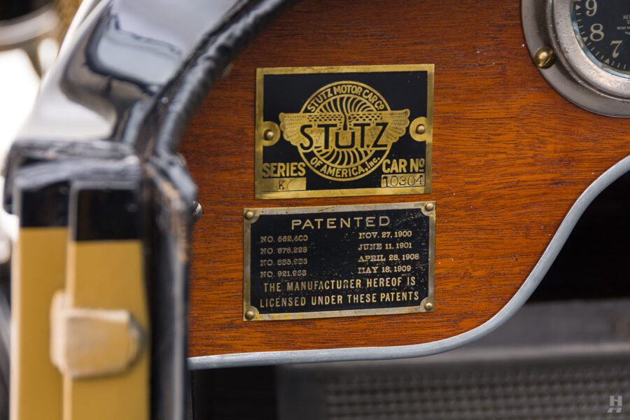 close up of logos on antique 1921 stutz series touring vehicle for sale at hyman cars