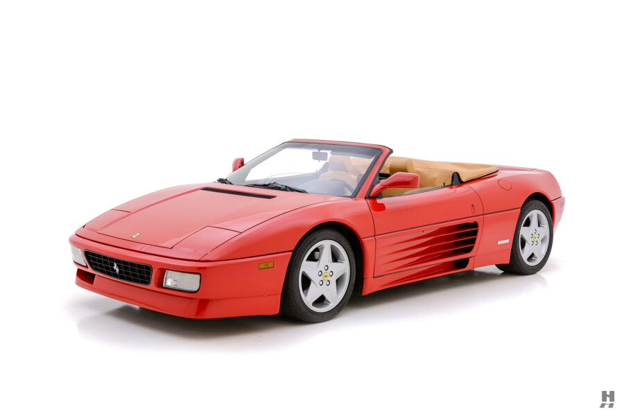 angled side view of vintage ferrari for sale at hyman classic cars