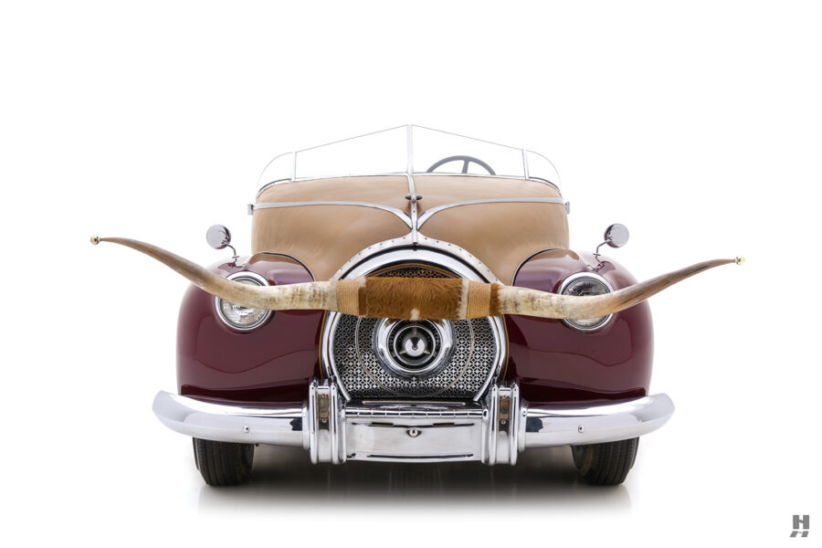 front of antique 1932 duesenberg speedster with animal horn for sale at hyman classic cars
