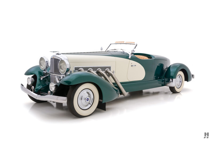 angled front of vintage duesenberg speedster for sale at hyman classic cars
