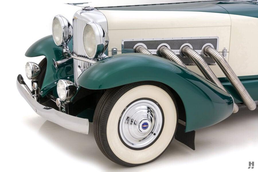 angled frontside of vintage duesenberg speedster for sale at hyman classic cars