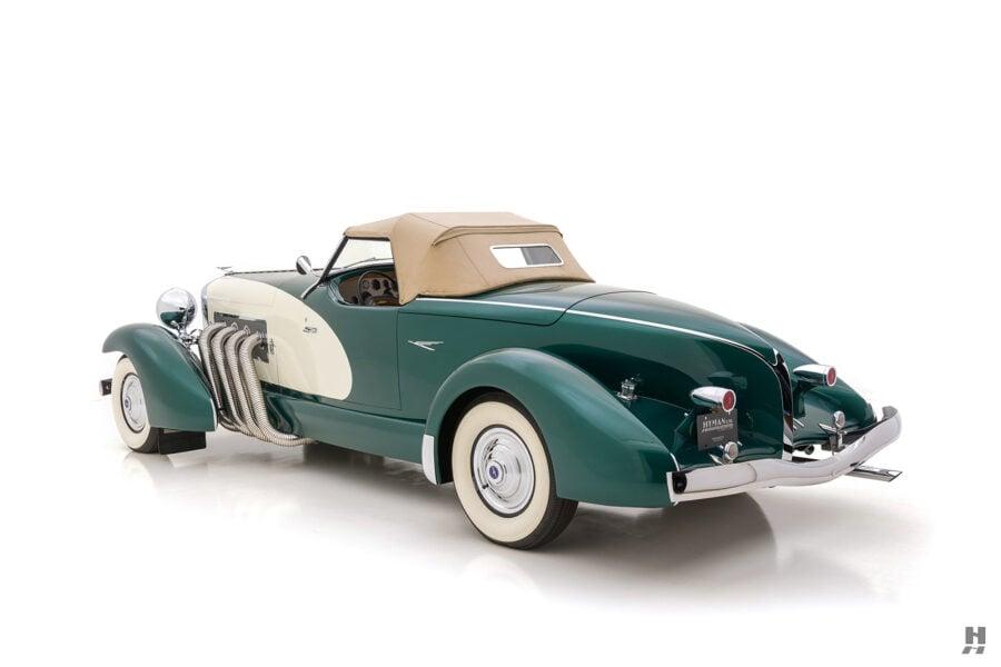 angled backside of vintage duesenberg speedster for sale at hyman classic cars