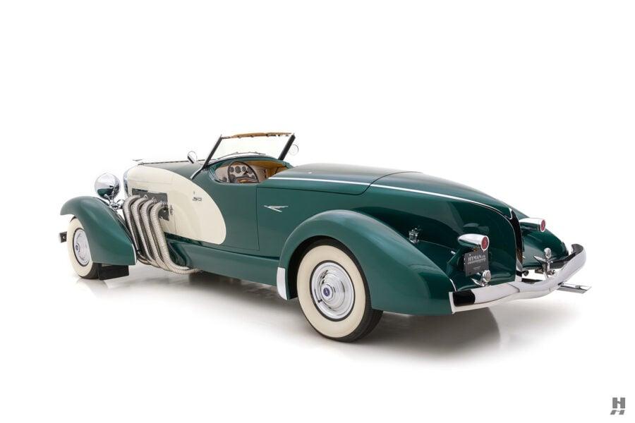 angled back of vintage duesenberg speedster for sale at hyman classic cars