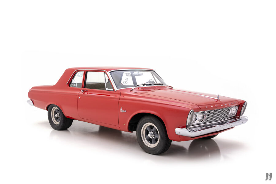 angled frontside of vintage 1963 plymouth savoy for sale at hyman classic cars