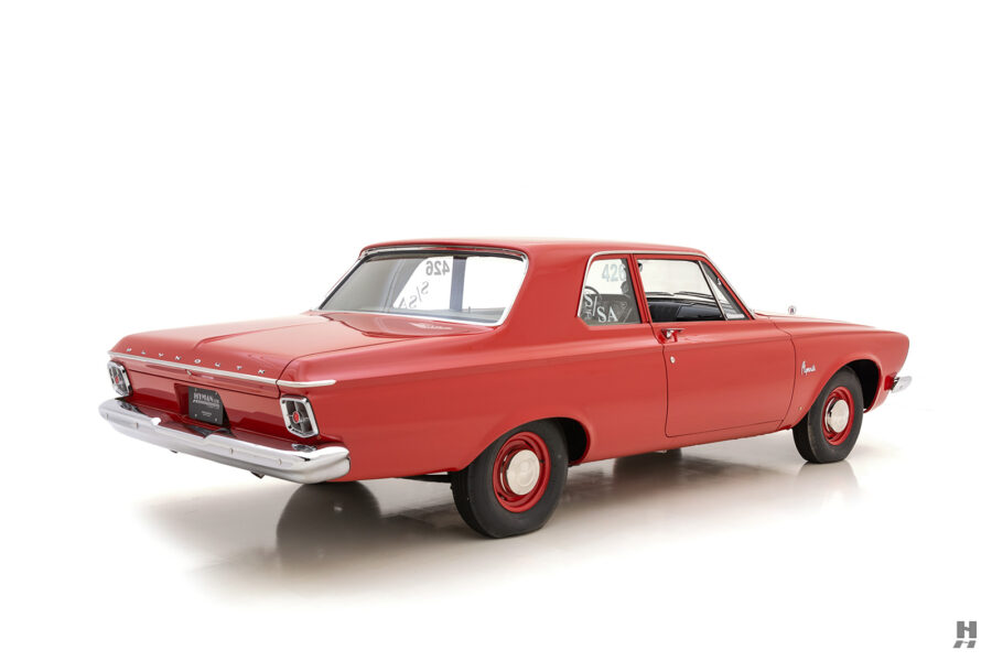angled backside of vintage 1963 plymouth savoy for sale at hyman classic cars