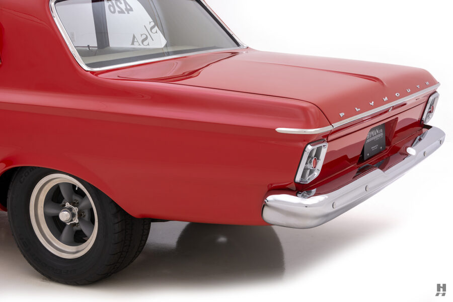 angled back of vintage 1963 plymouth savoy for sale at hyman classic cars