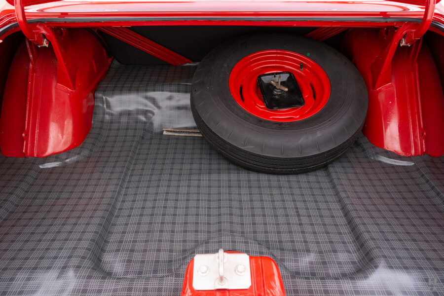 spare tire in trunk of vintage 1963 plymouth savoy for sale at hyman classic cars