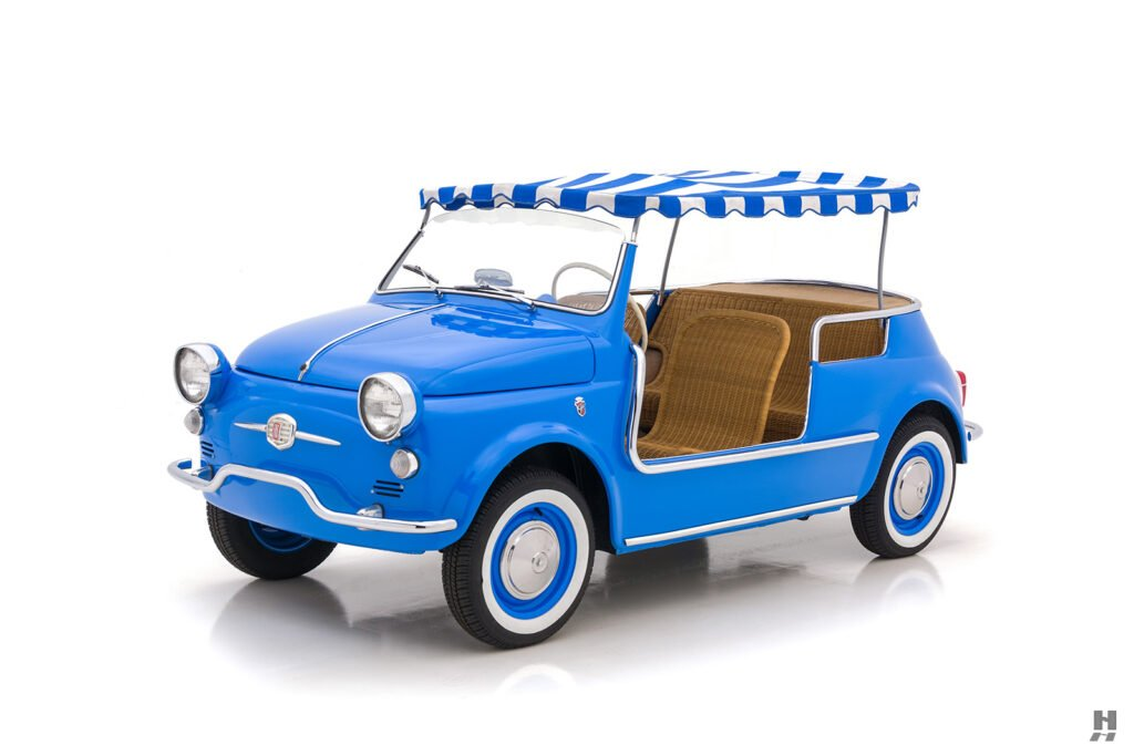 angled frontside of 1959 fiat 500 jolly for sale at hyman consignment dealers