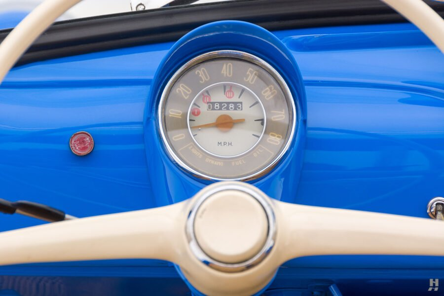 speedometer & steering wheel of 1959 fiat 500 jolly for sale at hyman consignment dealers