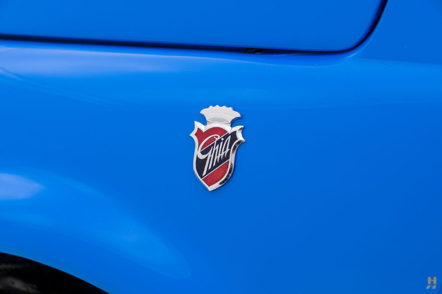 logo on 1959 fiat 500 jolly for sale at hyman consignment dealers