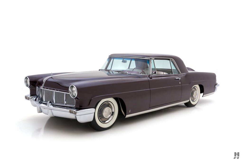 angled frontside of vintage 1956 lincoln continental car for sale at hyman dealers