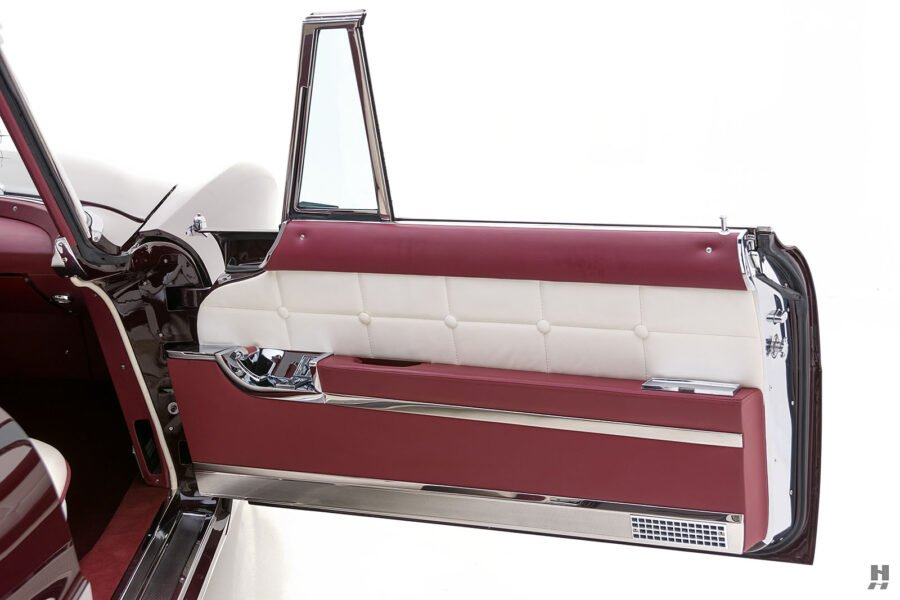 passenger's side door of vintage 1956 lincoln continental car for sale at hyman dealers
