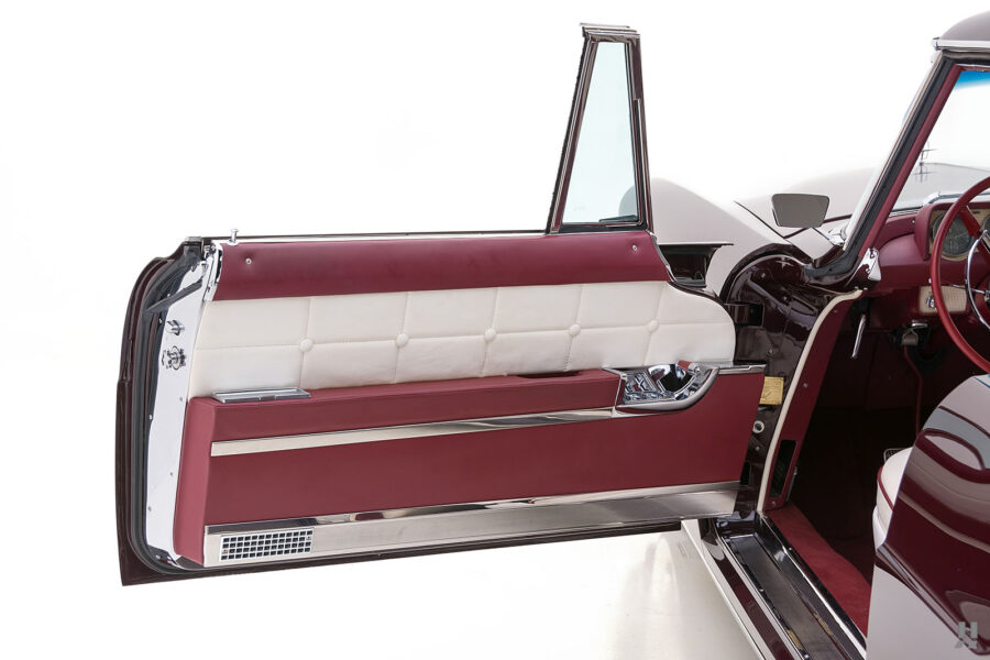 driver's side door of vintage 1956 lincoln continental car for sale at hyman dealers