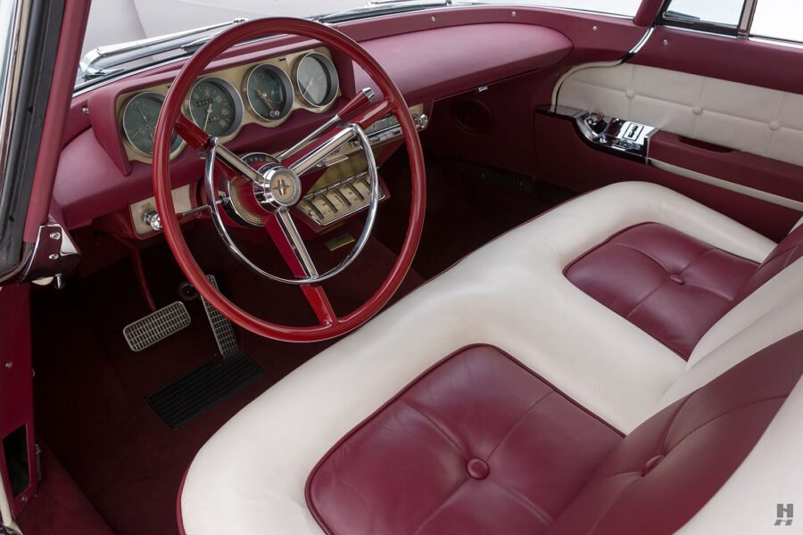 front interior of vintage 1956 lincoln continental car for sale at hyman dealers
