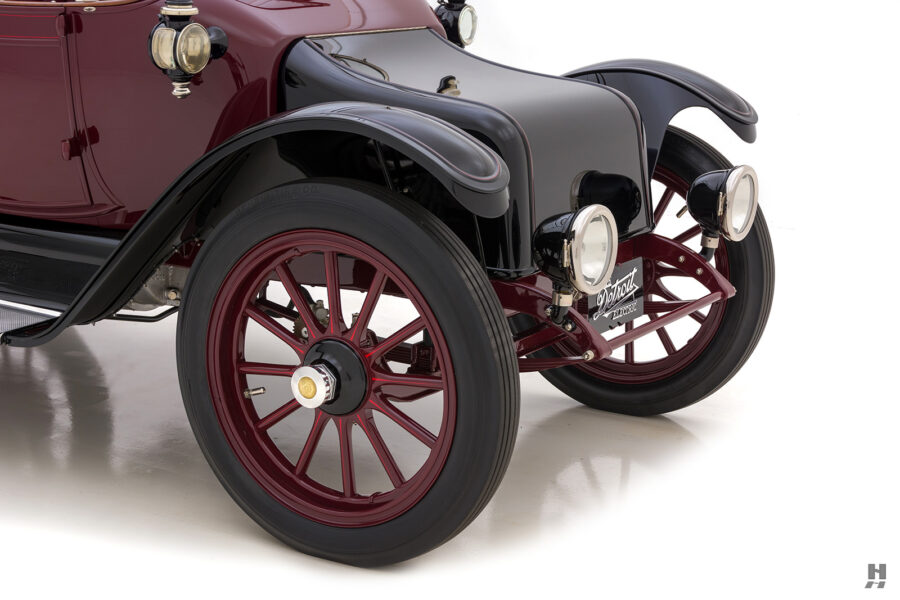 angled frontside of antique detroit electric roadster for sale at hyman classic cars