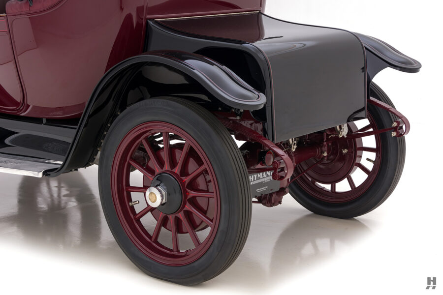 angled backside of antique detroit electric roadster for sale at hyman classic cars