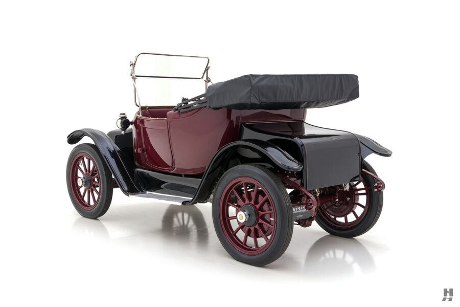 angled side view of antique detroit electric roadster for sale at hyman classic cars