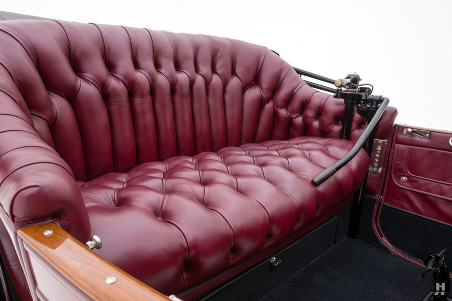 seat of antique detroit electric roadster for sale at hyman classic cars