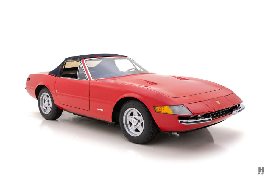 angled side view of historic ferrari spyder for sale at hyman classic cars