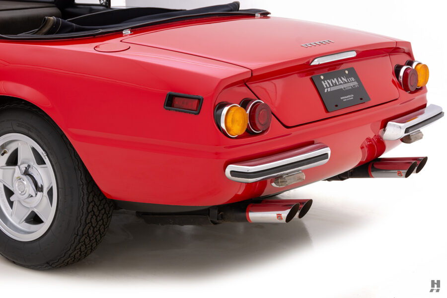 angled backside of historic ferrari for sale at hyman classic cars