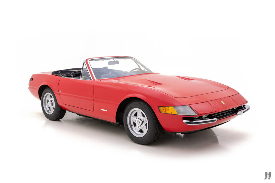 angled side view of historic ferrari for sale at hyman classic cars