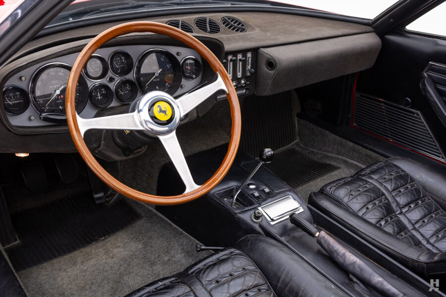 front interior of historic ferrari for sale at hyman classic cars