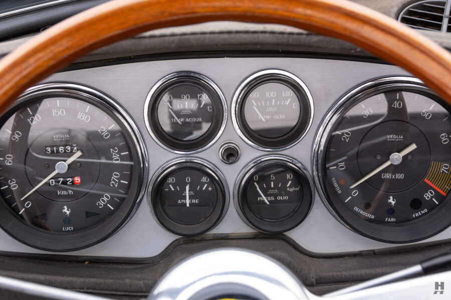 dashboard of historic ferrari for sale at hyman classic cars