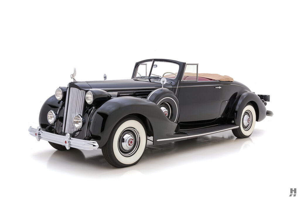 angled frontside view of historic 1938 packard coupe for sale - find more classic cars at hyman dealers